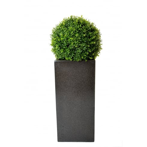 Boxwood Ball set in a Tall Fibreglass Cube Planter