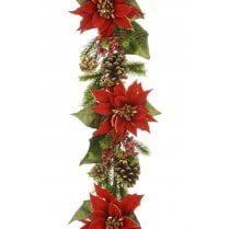 Majestic Red Poinsettia Garland