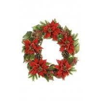 Majestic Red Poinsettia Wreath