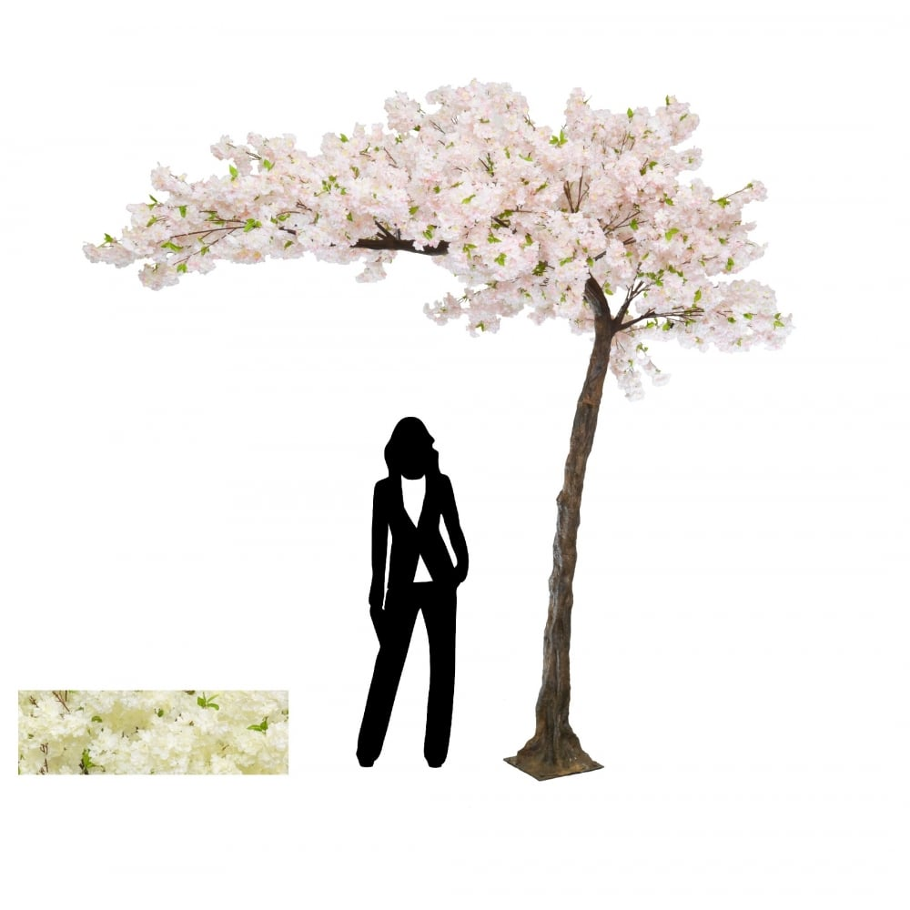 artificial blossom tree in pink or white replica canopy