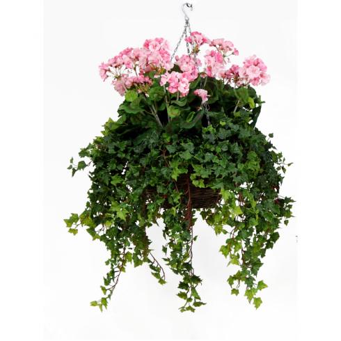 Artificial hanging basket replica geranium hanging basket in pink pink geranium hanging basket mightylinksfo